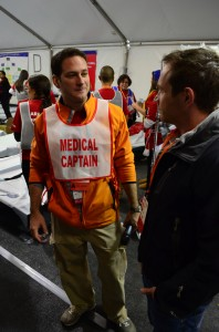 Phil Watson discussing protocols with a Medical Captain.